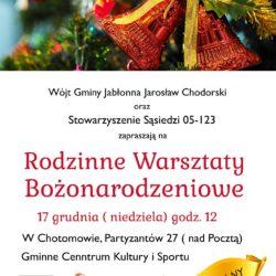Zaproszenie na Rodzinne Warsztaty Bożonarodzeniowe
